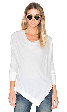 Light Weight Jersey Cowl Neck Long Sleeve Top in Bone