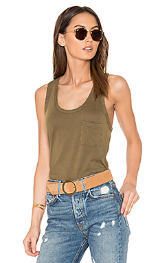 Distressed Jersey Racerback Tank in Army
