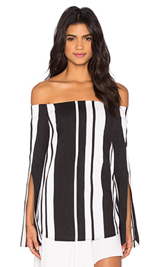 Veritgo Cape Stripe Top en Black & White