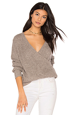 Waffle Deep Wrap Sweater in Heather Grey