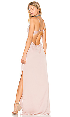 x REVOLVE Deep V Maxi Dress in Nude
