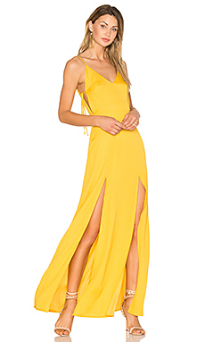 Gina Plunging Maxi Dress en Goldenrod