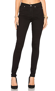High Snap Skinny Jean – Black Coal