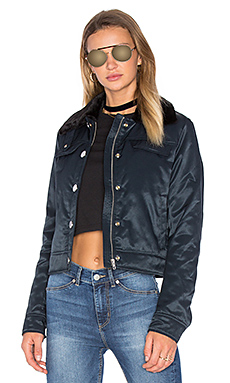 Plot Jacket With Faux Fur Collar in Navy