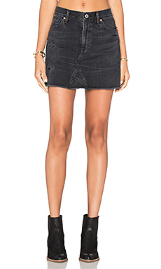 Cut Off Mini Skirt in Black Hawk