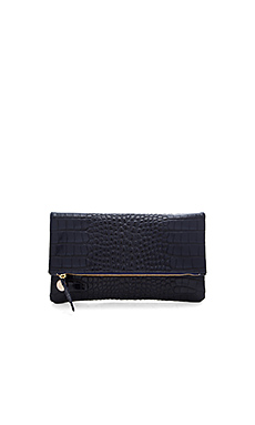 Foldover Supreme Clutch in Ink Croco