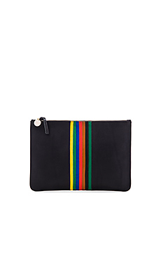 Rainbow Margot Flat Supreme Clutch en Black & Rainbow Stripe