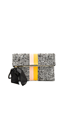 Canvas Foldover Clutch – 红色 & 金色