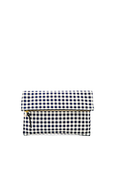 Supreme Foldover Clutch in Navy Gingham