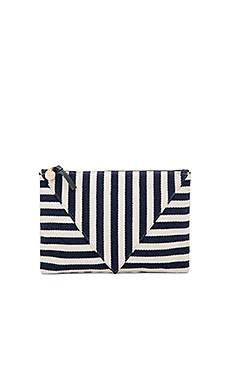 Patchwork Flat Clutch in Navy Mariner Stripe