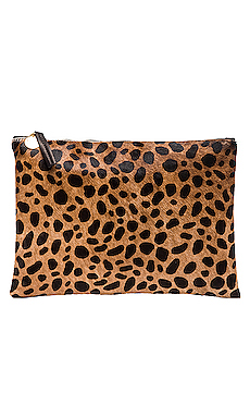 Flat Calf Hair Clutch in Leopard