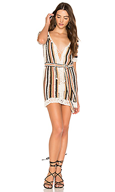 Bardot Short Dress With Sash en Imprimé