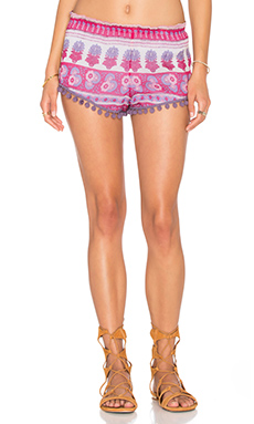 Printed Pom Pom Short in Pink Sarong
