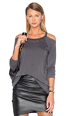 Unfinished Edge Cold Shoulder Tee in Union Black