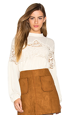 Delaney Lace Trimmed Top in Off White