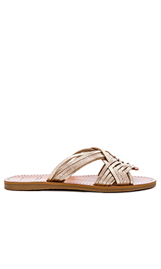 Jacey Sandal in Light Gold Leather