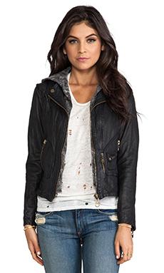 Vintage Zip Out Hood Leather Jacket en Noir