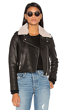 Detachable Lamb Shearling Fur Collar Aviator Moto Jacket in Black