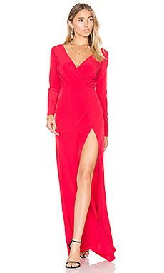 Embroidered Drape Neck Gown in Ruby