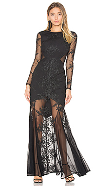 Embroidered Mermaid Gown en Noir