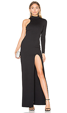One Sleeve Mock Neck Maxi Dress en Noir