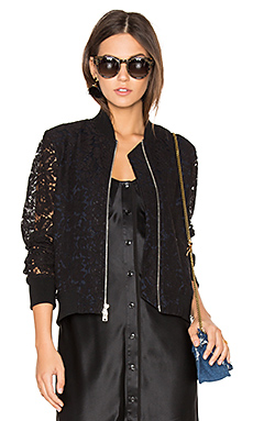 Kennadie Lace Bomber in Black & Deep Night