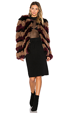 Bianca Fox Fur Jacket – Multi Nude & Burgundy