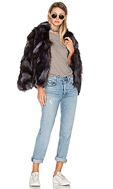 Jessa Fox Fur Jacket – 黑色