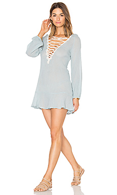 Sea Breeze Natalya Dress en Faded Blue & Ecru