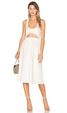 Elasticated Cut Out Top Dress en Blanc