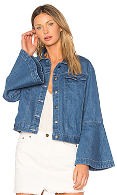 Flute Sleeve Denim Jacket en Délavage léger