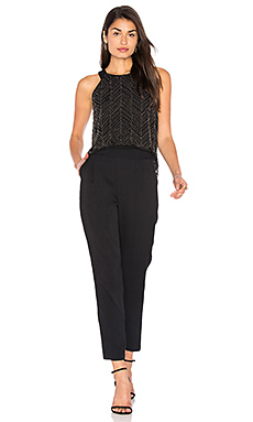 Frances Beaded Mesh Jumpsuit – 黑色