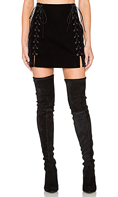 Lace Up Mini Skirt in Black