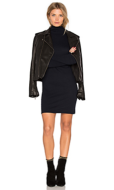 Cashmere Long Sleeve Turtleneck Dress in Cadet