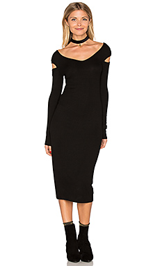 Cut Out Shoulder Midi Dress en Noir
