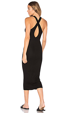 Rib Crossback Midi Dress en Noir