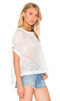 Burnout Viscose Cropped Boxy Top en Naturel