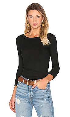 Rib Long Sleeve Crew Neck Top in Deep Forest