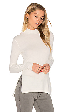 Long Sleeve Mock Neck Slit Tunic in Winter White