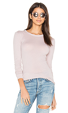 Tissue Jersey Bold Long Sleeve Crew Top en Pink Beige