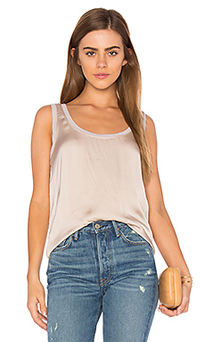 Satin Scoop Neck Tank – Pink Beige