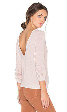 Calais V Back Sweater in Ivory & Pink Lurex