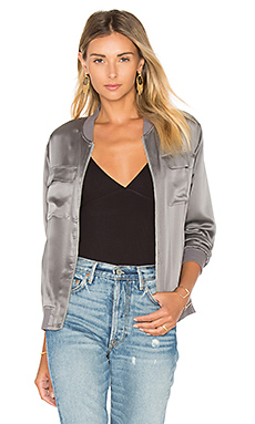 Abbot Satin Bomber in Gunmetal