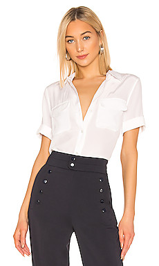 Slim Signature Short Sleeve Blouse in Bright White