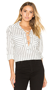 Knox Lace Up Blouse in Nature White & True Black