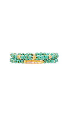 Beaded Bracelet in Gold & Turquoise