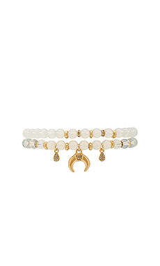 Beaded Bracelet Set en Blanc