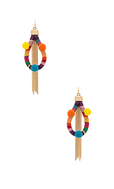 Dahl Multi Pom Pom Earrings – 七色彩虹色