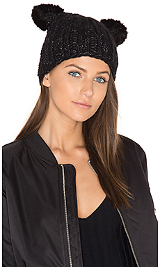 Felix Beanie with Mink Fur Ears – 黑色