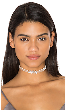 Monarch Mini Velvet Choker en Rhodium & Blush